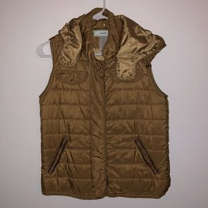 Tan Puffer Vest with Hood